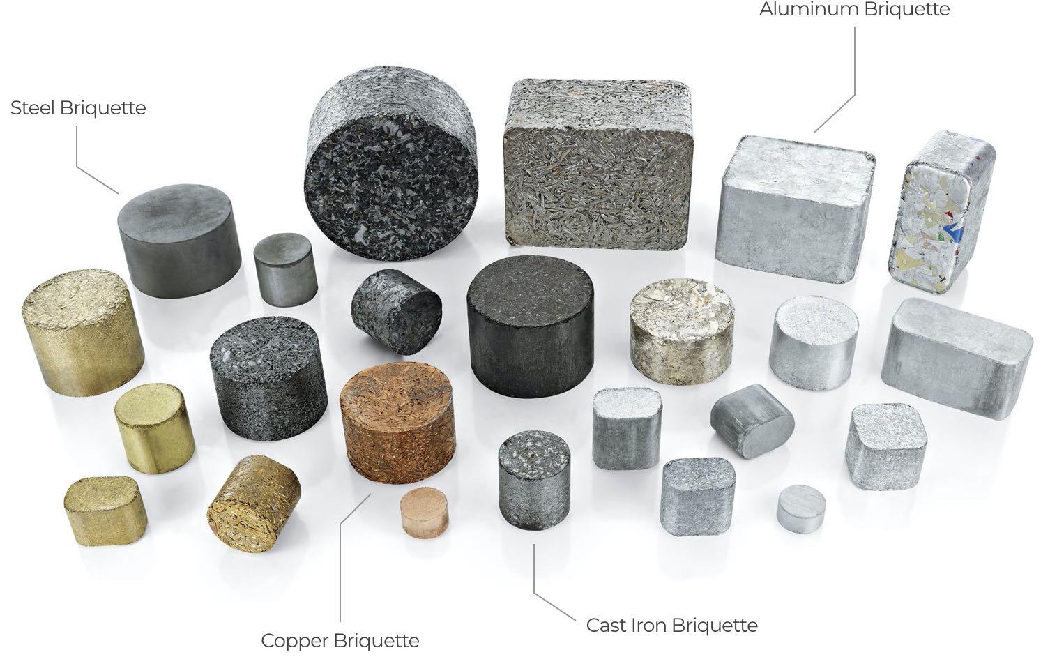 multiple metal briquettes